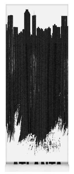 Atlanta Skyline Brush Stroke Black Yoga Mat