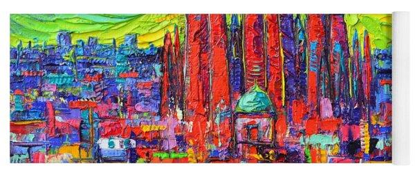 Aurora In Barcelona Sagrada Familia Impasto Textural Abstract City Knife Painting Ana Maria Edulescu Yoga Mat