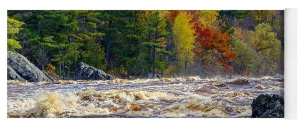Autumn Colors And Rushing Rapids   Yoga Mat