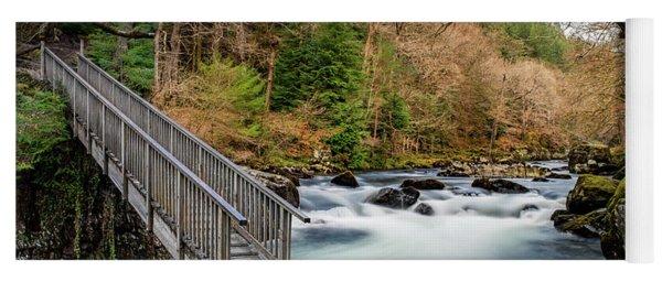 Autumn Footbridge Rapids Yoga Mat