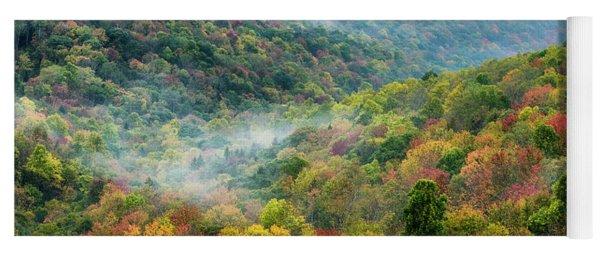 Autumn Hillsides With Mist Yoga Mat