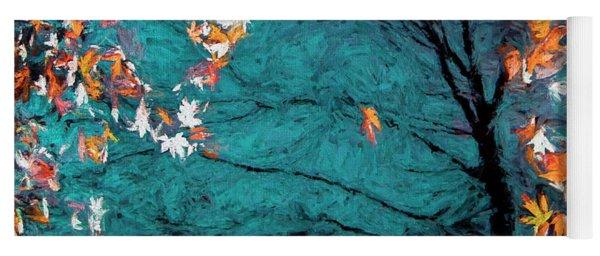 Autumn In A Blue Pool Yoga Mat