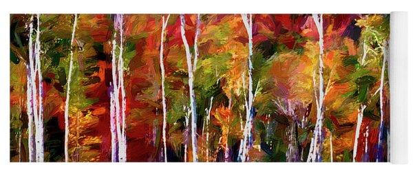 Autumn In The Birches Yoga Mat