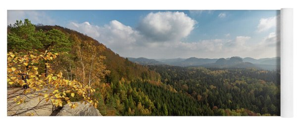 Yoga Mat featuring the photograph Autumn In The Elbe Sandstone Mountains by Andreas Levi