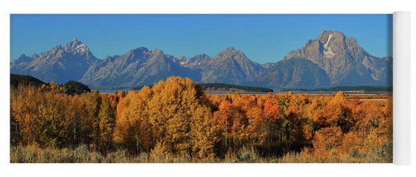 Autumn Peak Beneath The Teton Peaks Yoga Mat