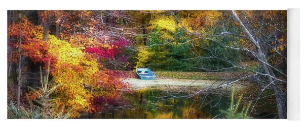 Autumn Pond With Rowboat Yoga Mat