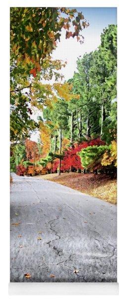 Autumn Road  Yoga Mat