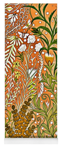 Autumn Tapestry And Home Decor Design With Three Butterflies, Foliage And Flowers Yoga Mat