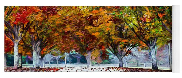 Yoga Mat featuring the digital art Autumn Trees by Pennie McCracken