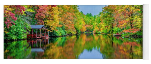 Yoga Mat featuring the photograph Autumn On Mirror Lake by Andy Crawford