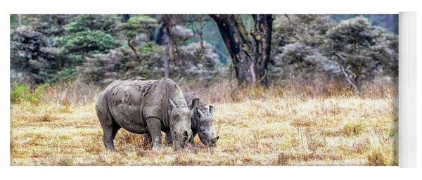 Baby And Parent White Rhino In Lake Nakuru Yoga Mat