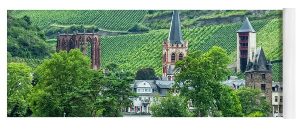 Yoga Mat featuring the photograph Bacharach, Germany, On The Rhine by Kay Brewer