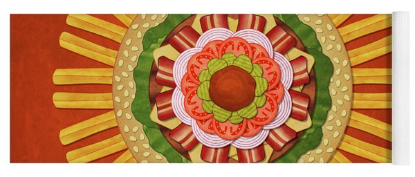 Bacon Cheeseburger With Fries Mandala Yoga Mat