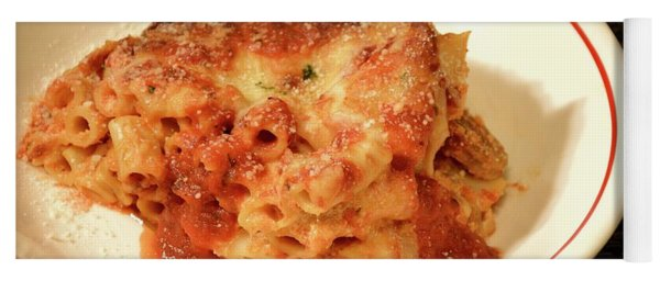 Yoga Mat featuring the photograph Baked Ziti Serving 3 by Angie Tirado