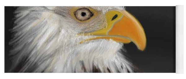 Yoga Mat featuring the pastel Bald Eagle by Fe Jones