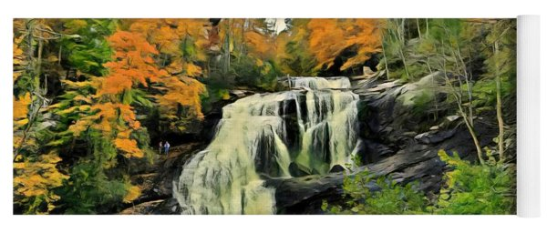 Yoga Mat featuring the photograph Bald River Falls In Autumn  by Rachel Hannah