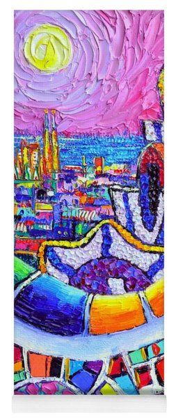 Barcelona Park Guell Colorful Night Textural Impasto Knife Oil Painting Abstract Ana Maria Edulescu Yoga Mat