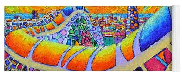 Barcelona Park Guell Mystic Yellow Sunrise Modern Impressionist Textural Painting Ana Maria Edulescu Yoga Mat