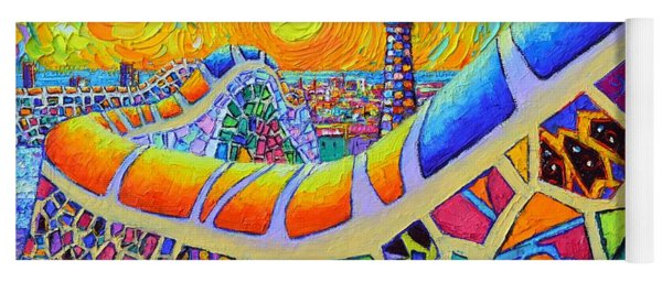 Barcelona Sunrise Park Guell Textural Impressionist Impasto Knife Oil Painting By Ana Maria Edulescu Yoga Mat