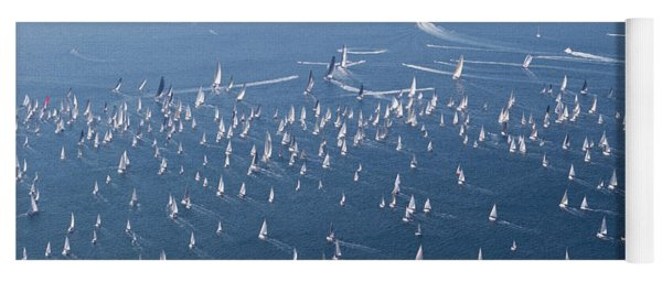 Yoga Mat featuring the photograph Barcolana Regatta 2018 by Helga Novelli
