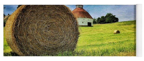 Yoga Mat featuring the photograph Barn And Bales All Around by Andrea Platt