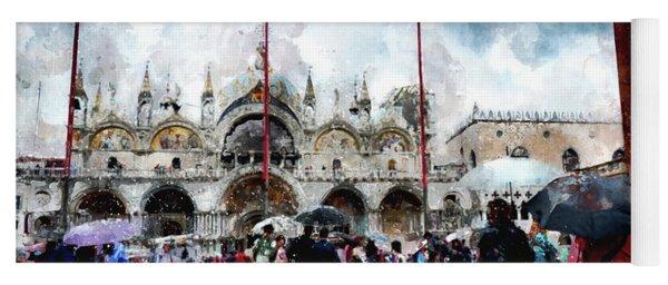 Basilica Of Saint Mark In Venice, Italy - Watercolor Effect Yoga Mat