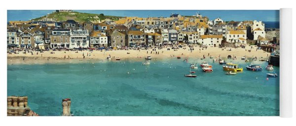 Beach From Across Bay St. Ives, Cornwall, England Yoga Mat