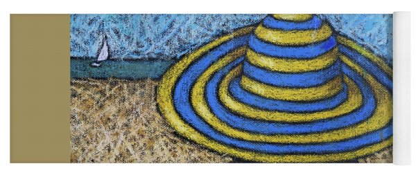 Beach Hat Blue And Yellow Yoga Mat
