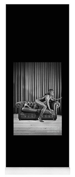 Beautiful Naked Man With Mask Posing On A Sofa Yoga Mat