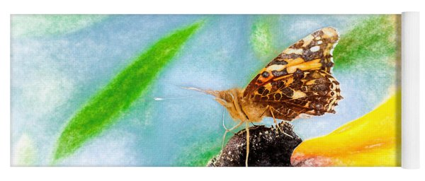 Beautiful Painted Lady Butterfly Yoga Mat