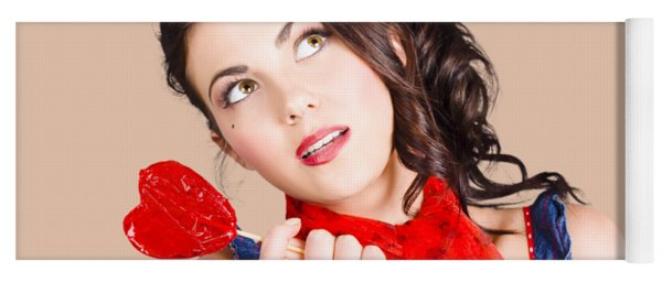 Beautiful Pinup Girl Holding Candy. Sweet Heart Yoga Mat