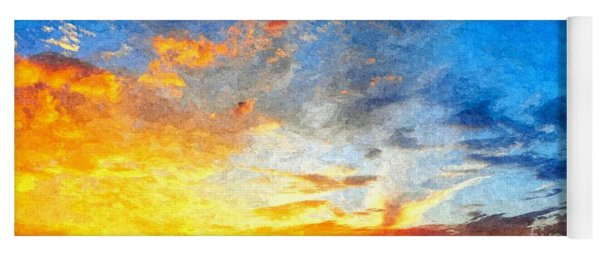 Beautiful Sunset In Landscape In Nature With Warm Sky, Digital A Yoga Mat