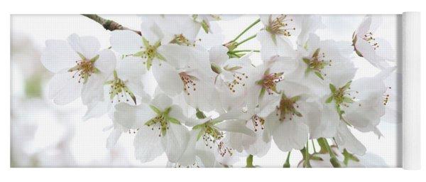 Beautiful White Cherry Blossoms Yoga Mat