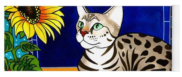 Beauty In Bloom - Savannah Cat Painting Yoga Mat
