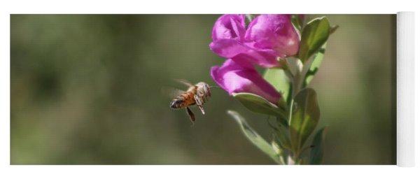 Bee Flying Towards Ultra Violet Texas Ranger Flower Yoga Mat