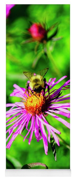 Bee On Pink Flower Yoga Mat
