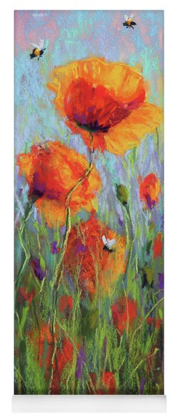 Bees And Poppies Yoga Mat
