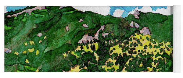 Yoga Mat featuring the painting Bergen Peak Summer Watercolor by Dan Miller