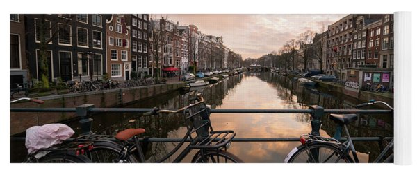 Bicycles And Canal Houses In Amsterdam At Sunset Yoga Mat