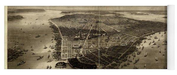 Bird's-eye View Of New York City 1851  Yoga Mat