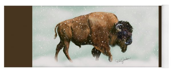 Bison In Snow Storm Yoga Mat