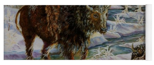 Bison In Yellowstone In The Winter Yoga Mat