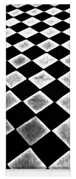 Black And White Floor Tile Yoga Mat