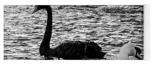 Black And White Swans Yoga Mat