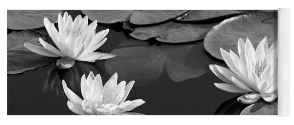 Black And White Water Lilies Yoga Mat