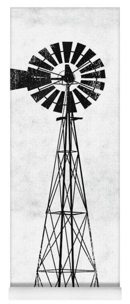 Black And White Windmill 1- Art By Linda Woods Yoga Mat