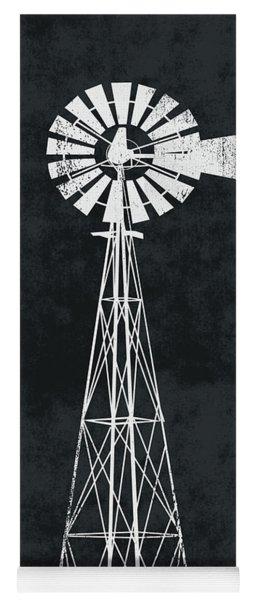 Black And White Windmill 2- Art By Linda Woods Yoga Mat