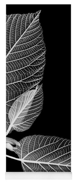 Black And White X Ray Leaves  Yoga Mat