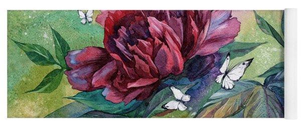 Black Peony Flower And Butterflies Yoga Mat