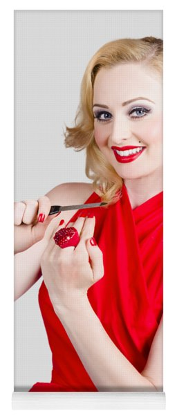 Blond Pinup Woman In Red Dress Making Manicure Yoga Mat
